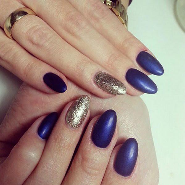 Blue Matte and Gold Glitter Matte Almond Nail Design