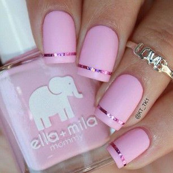 Baby Pink Matte Nail with a Simple Strip of Pink Metallic Foil for ...