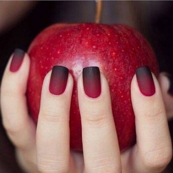 Ombre Red and Black Matte Nail Design - 60 Pretty Matte Nail Designs