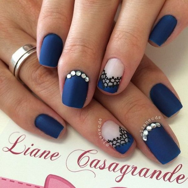 Midenight Blue Matte Nails With Lace Details And Silver Beads On Top