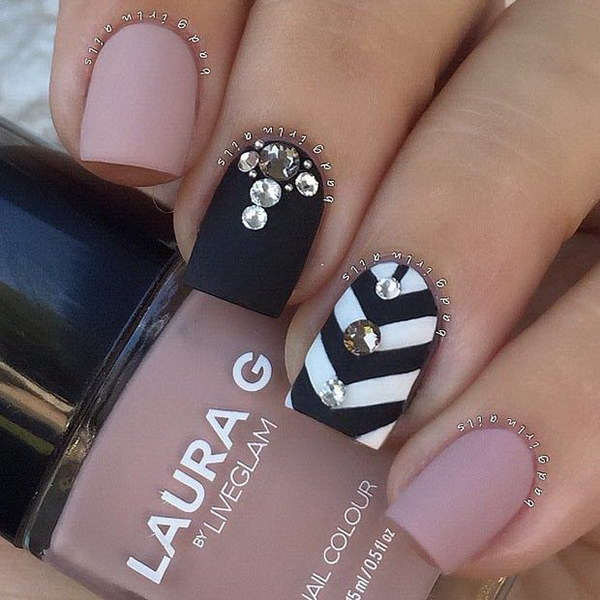 60 pretty matte nail designs chevron and beads accent matte nail design prinsesfo Gallery