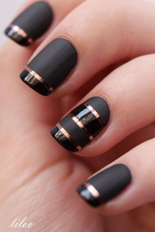 Black Matte Nails with Rose Gold Strips for Detail - 60 Pretty Matte Nail Designs