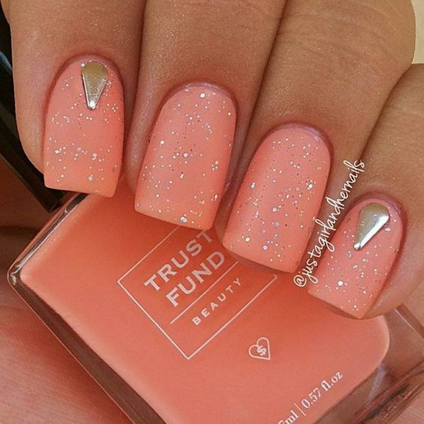 Peachy Matte Nails with Sequins and Silver Studs.