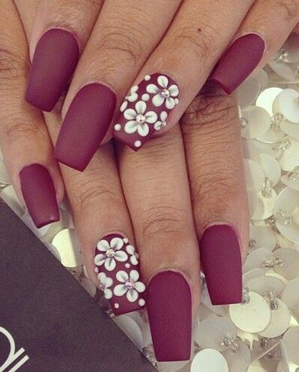 Burgundy Matte Nails with White Flowers.