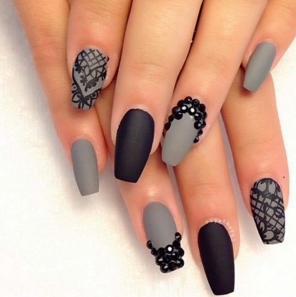 Gray & Black Rhinestone Matte Nails - 60 Pretty Matte Nail Designs