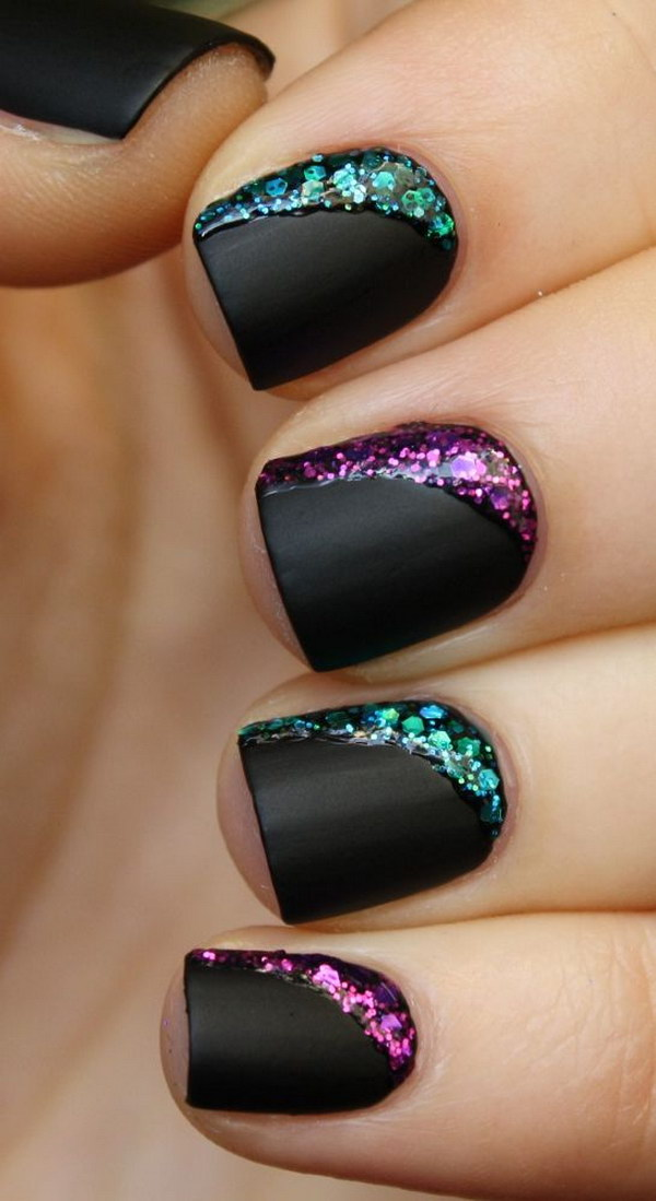 Matte Black Short Nail Design with Colorful Glitters.