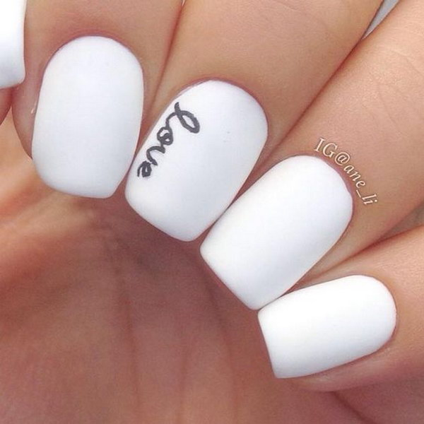 White Nail Ideas: 50 Pretty Matte Nail Designs