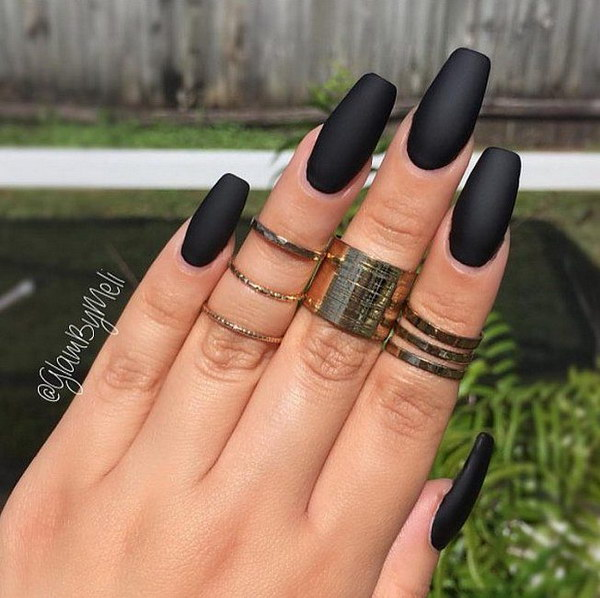 Matte Black Nail Art Design.