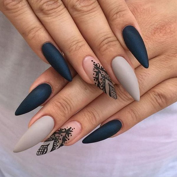 Gray Matte Stiletto Nails with Black Details - 60 Pretty Matte Nail Designs