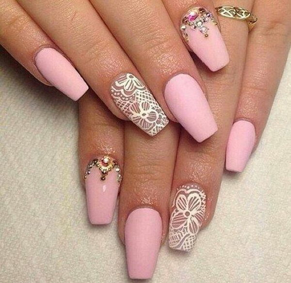 Pink Matte Nails with White Lace Accent - 60 Pretty Matte Nail Designs