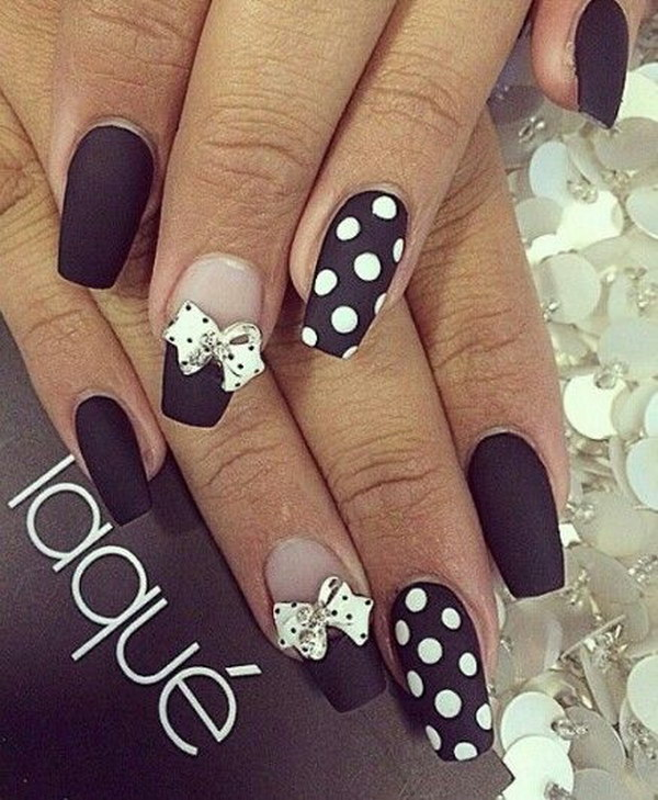 Black Polka Dot White Bow Matte Nails.