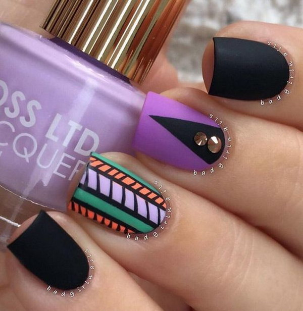 Tribal Matte Nail Design with Beads On Top.