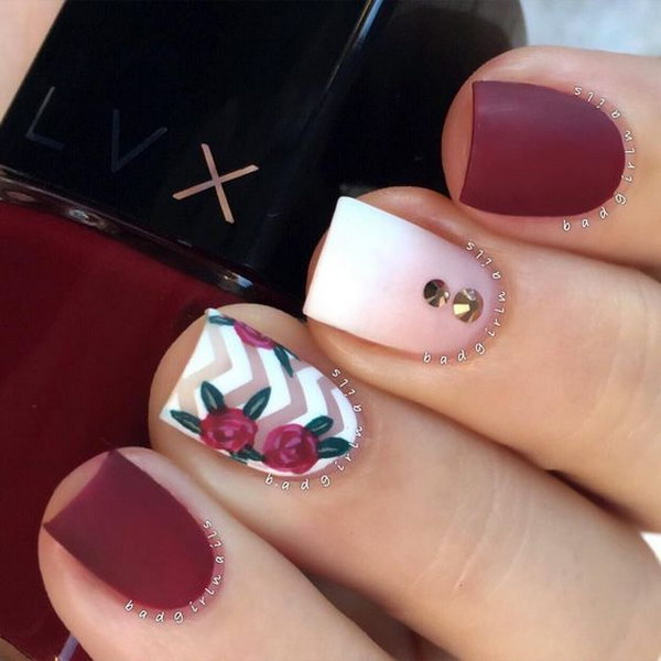 Burgundy Red, Matte Nails with Double Rhinestones, Chevron and Roses.
