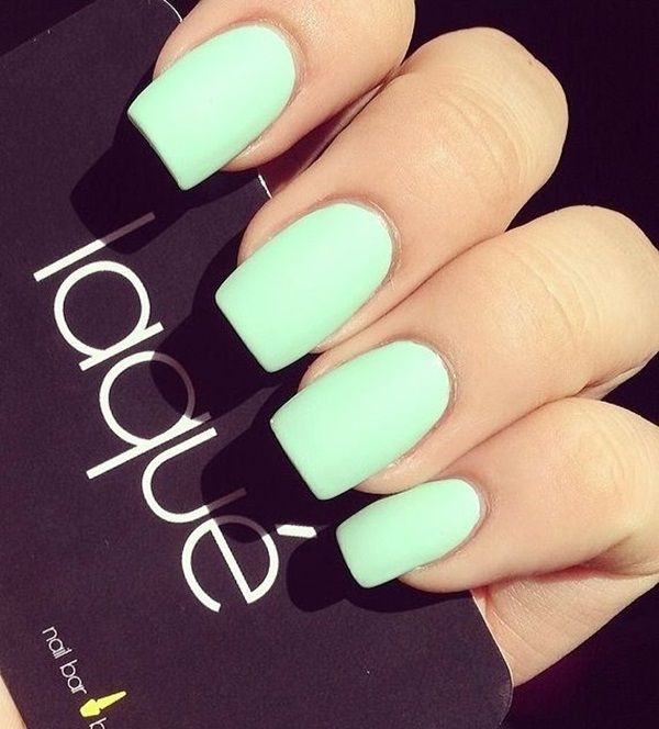 Mint Green Matte Nail Design.