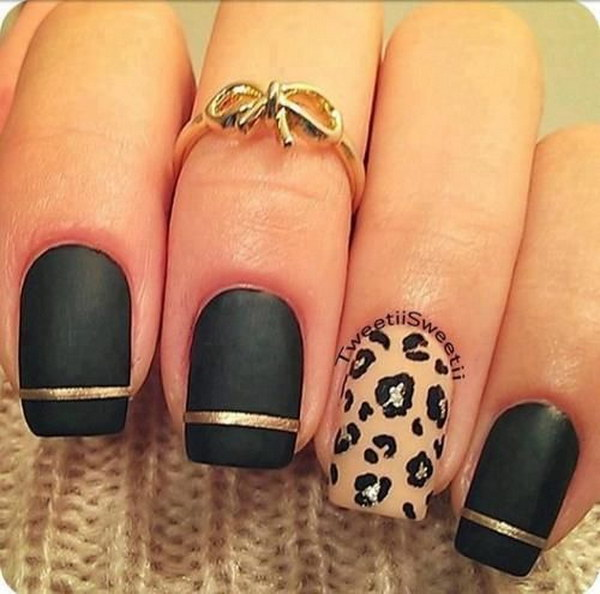 Leopard Print and Gold glitter Strips Matte Nail Design.
