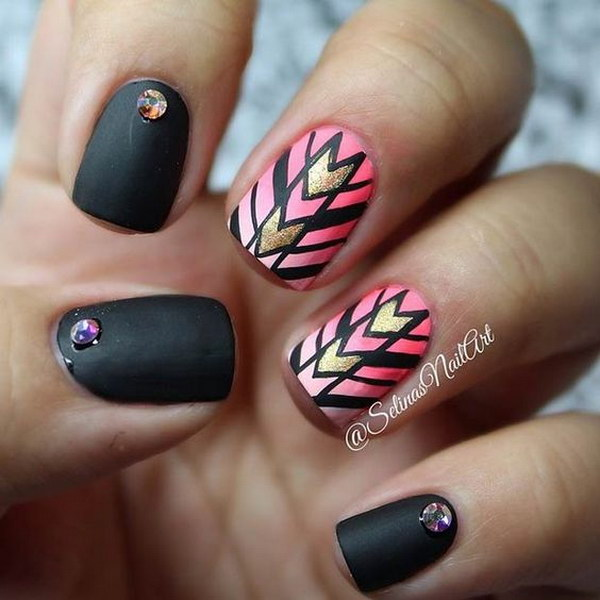 Tribal Inspired Black Matte Nail Art Design.