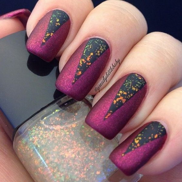 Matte Purple and Black Flake Glitter Nails.