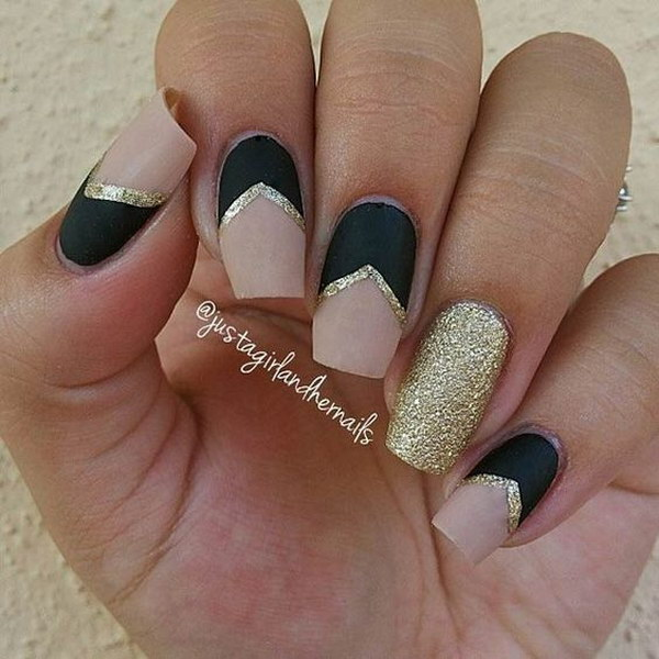 Matte Black and Nude Nails with Gold Details.