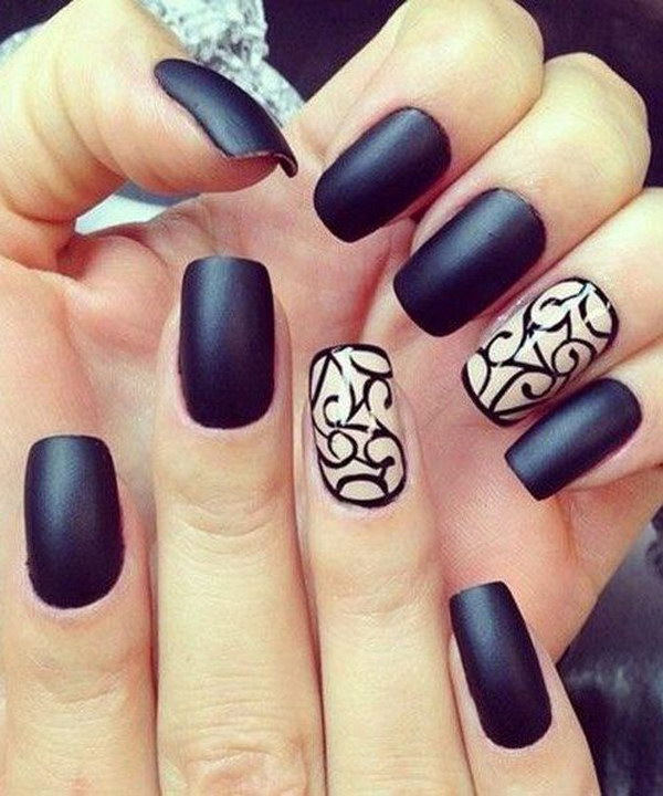 Dark Matte Nail Design With Swirl Details