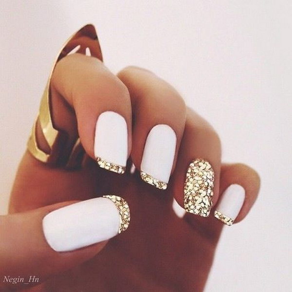 White Matte Polish & Gold Glitter French Tips Nail Design - 60 Pretty Matte Nail Designs