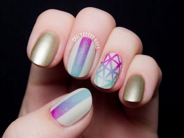 Artistically Inspired Gradient Nail Art with Striking Line Details and Matte Bronze.