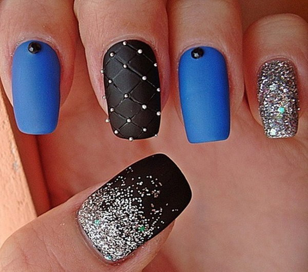 Black Blue And Silver Matte Nail Design