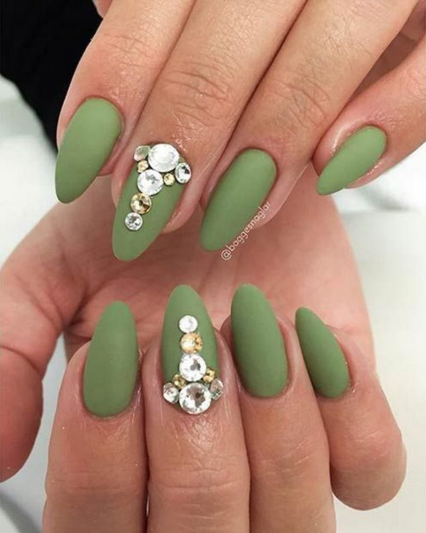 Army Green Matte Nails with Rhinestones.