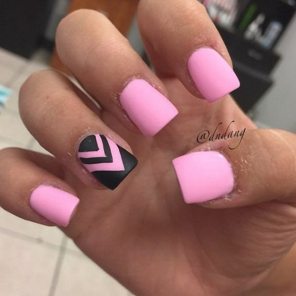 Baby Pink Matte Nails with Black Zigzag Lines.