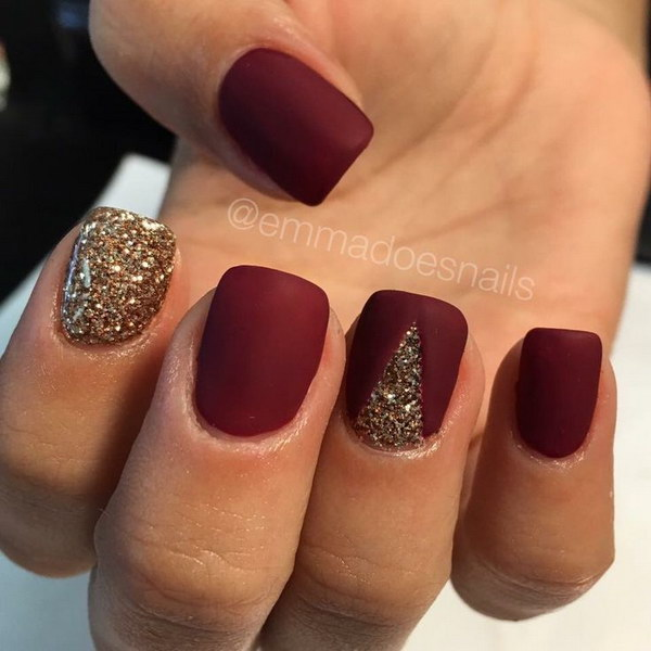Red and Gold Glitter Matte Nail Art.