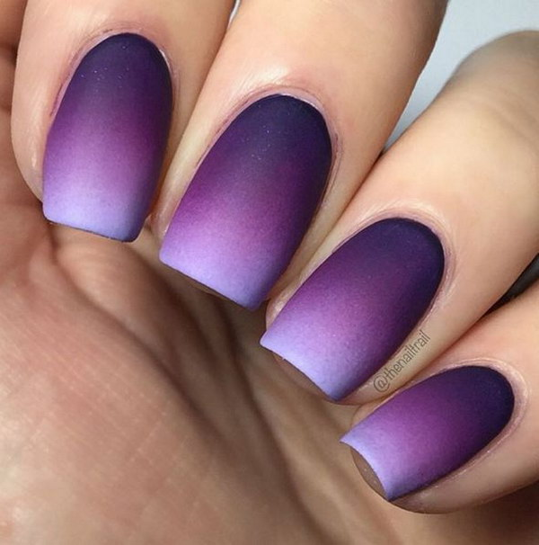 Ombre Purple Matte Nail Design.