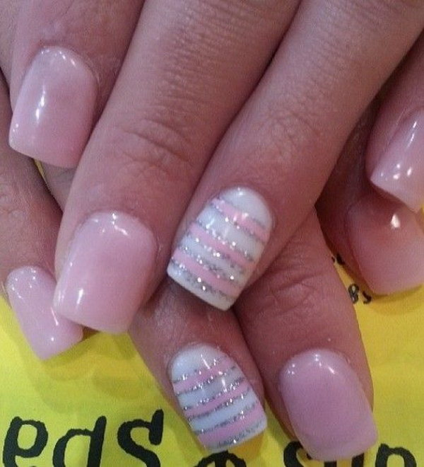 Light Pink and White Nails with Silver Glitters - 50 Lovely Pink And White Nail Art Designs