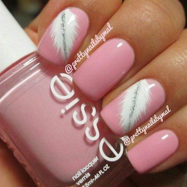 Pretty Pink White Feathered Nail Art