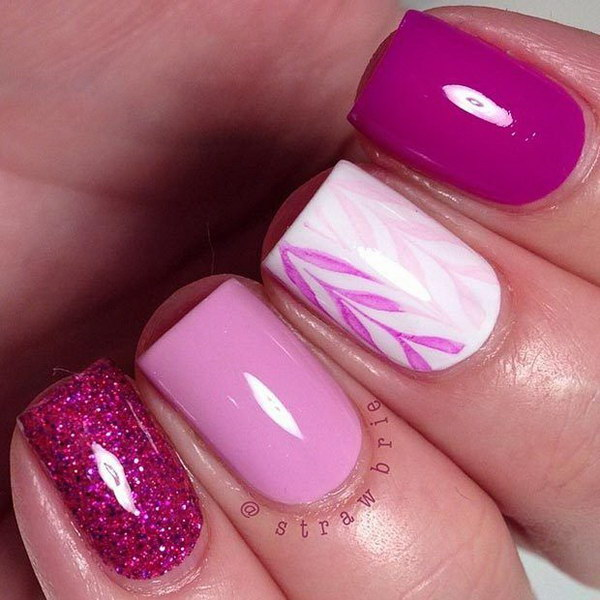 50 lovely pink and white nail art designs simple pink and white nail design for short nails prinsesfo Choice Image