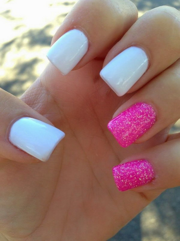 Simple Hot Pink White Glitter Nail Design