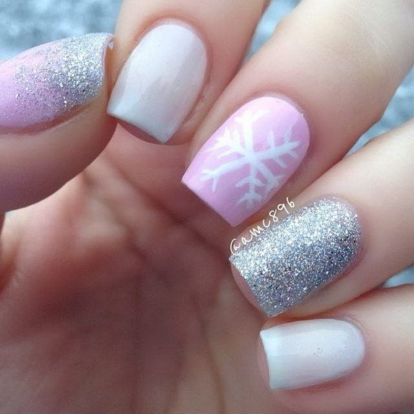 Pink White Sparkle Nails With Snowflake Accent