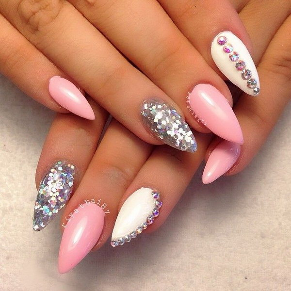 50 lovely pink and white nail art designs pink white and silver nail art with rhinestones accents prinsesfo Images
