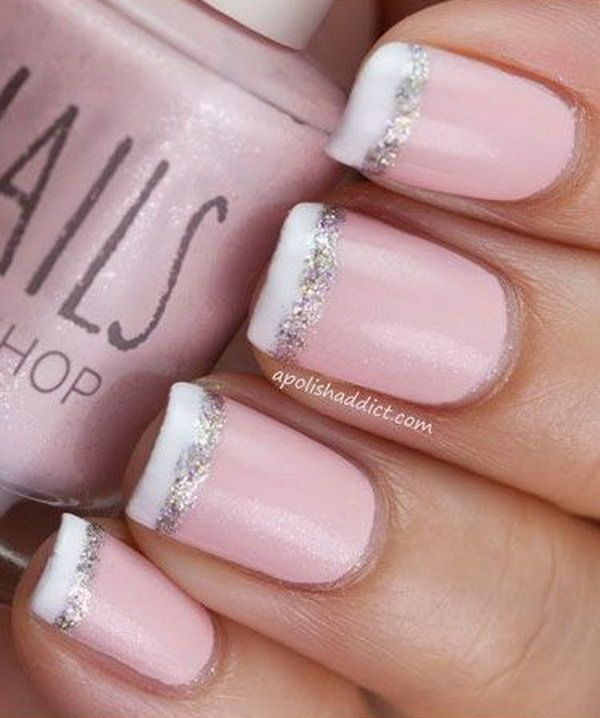 50 lovely pink and white nail art designs baby pink french nail tipped with white and glitter prinsesfo Images