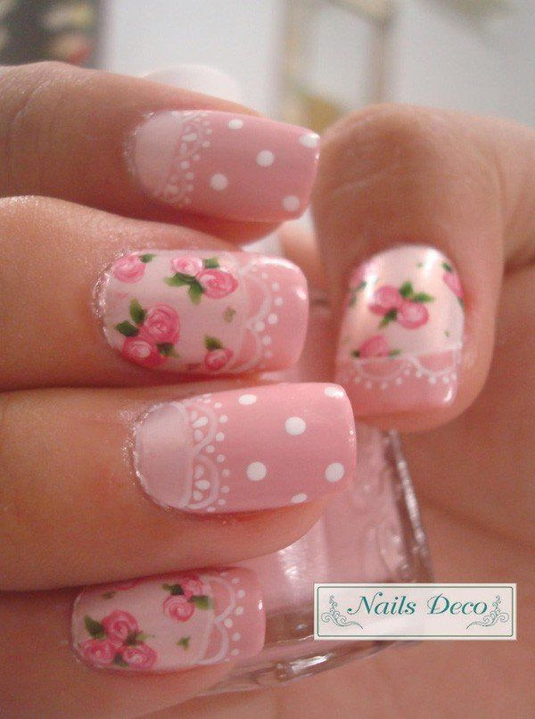 Pink Roses Nail with lAce, White Dots.