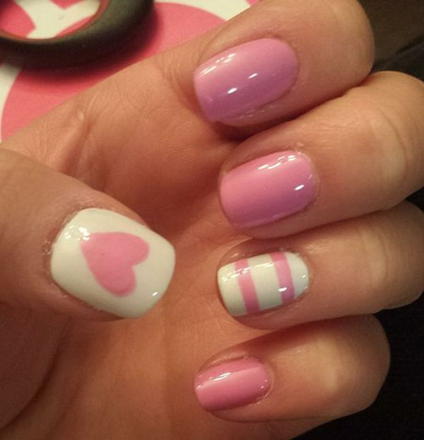 Pink & White Nails with Heart and Strips Accent.