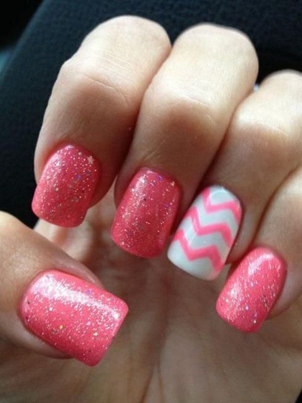 50 lovely pink and white nail art designs pink and white chevron nail design prinsesfo Choice Image