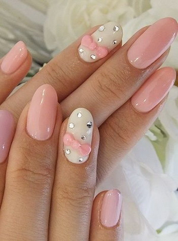 Baby Pink & White Bow Nail Design.