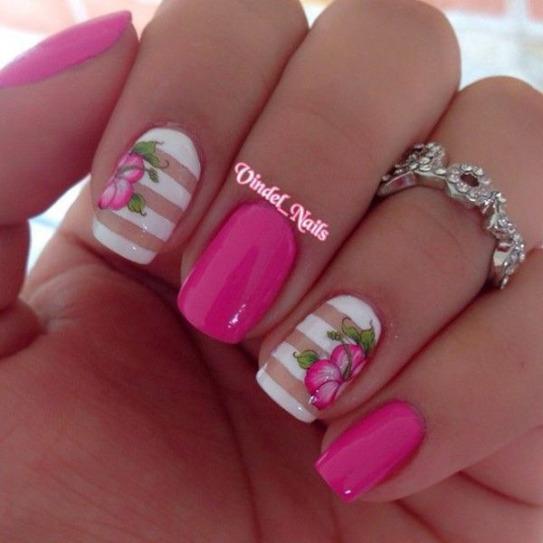 50 Lovely Pink And White Nail Art Designs - Nail Designs For 2016 Spring - Best Nails 2018
