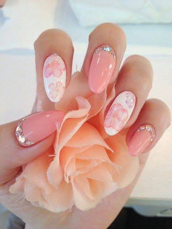 Pink And White Flowral Japanese Nails With Beaded Designs