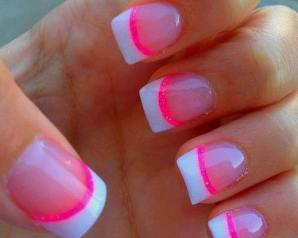 White And Hot Pink Tipped French Nails