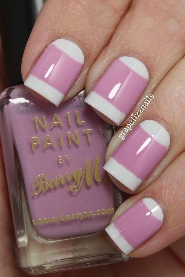Pink and White Negative Space Nail Design.