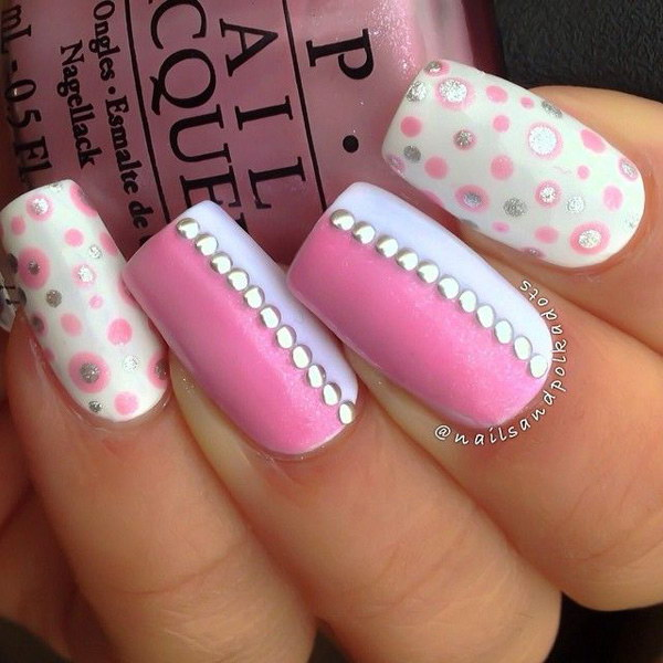 White & Pink Nail Design with Studs and Dots - 50 Lovely Pink And White Nail Art Designs
