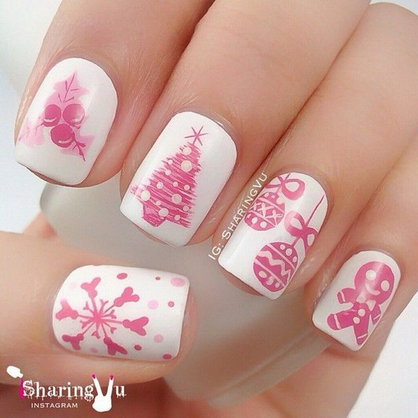Christmas and Winter Nails in White & Pink.