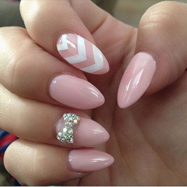50 lovely pink and white nail art designs baby pink and white bow nail art design prinsesfo Choice Image