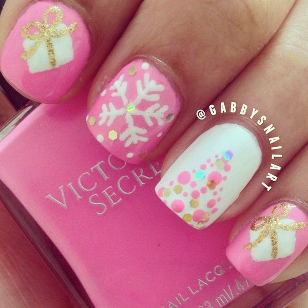 Adorable Pink and White Christmas Nail Design.
