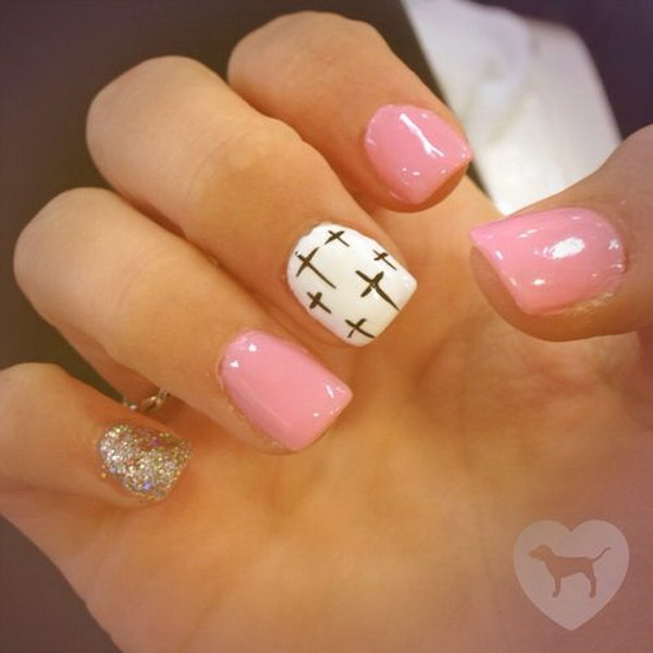 Pastel Pink & White Nails with Cross.